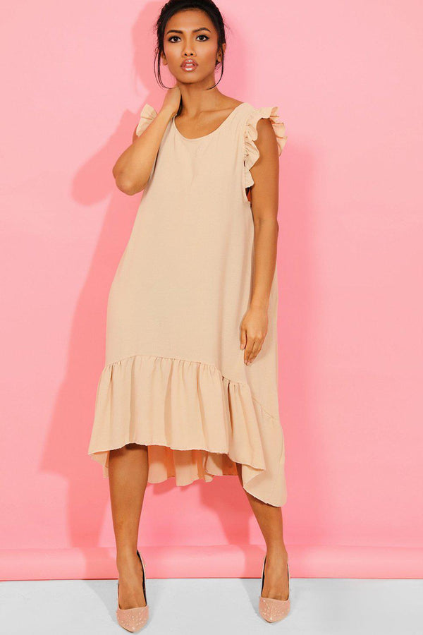 Beige Frilled Shoulders Pearl Chain Back Babydoll Dress - SinglePrice