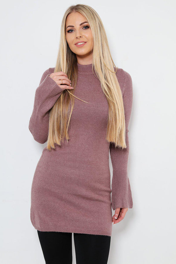 High Neck Flute Sleeves Jumper Dress - SinglePrice