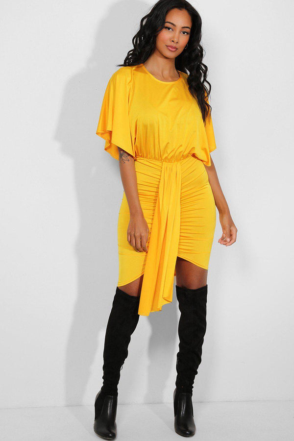 Bright Yellow Drape Detail Ruched Batwing Dress-SinglePrice