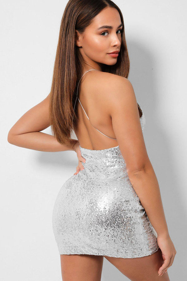 Silver Sequins Embellished Cami Bodycon Mini Dress - SinglePrice