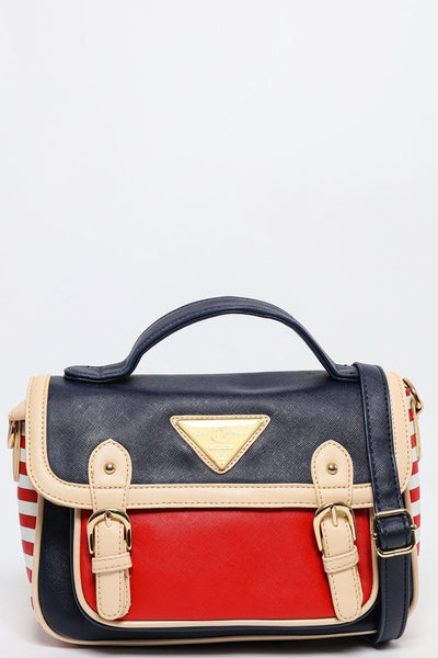 Stripey Sides Navy Mini Satchel-SinglePrice