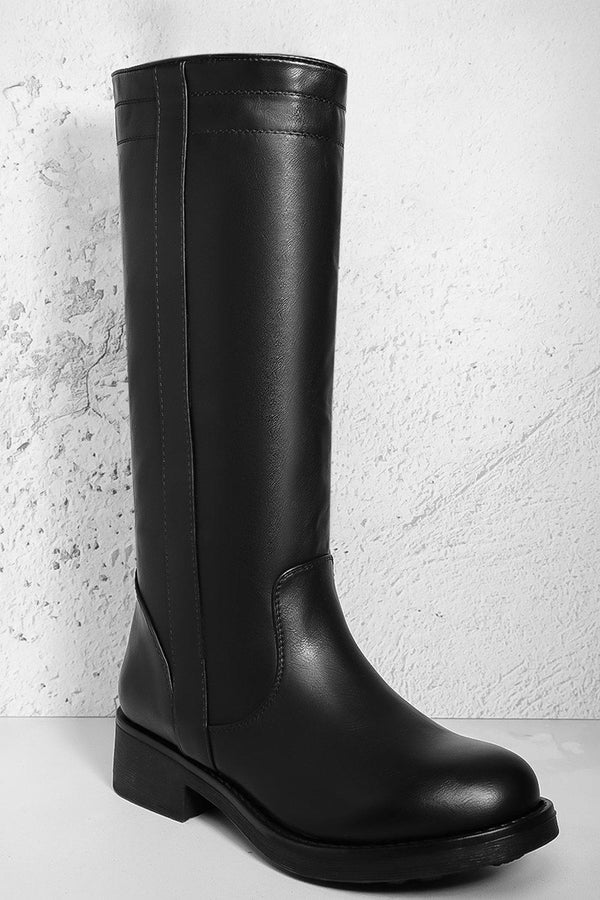 Black Vegan Leather Knee High Low Chunky Heel Boots - SinglePrice