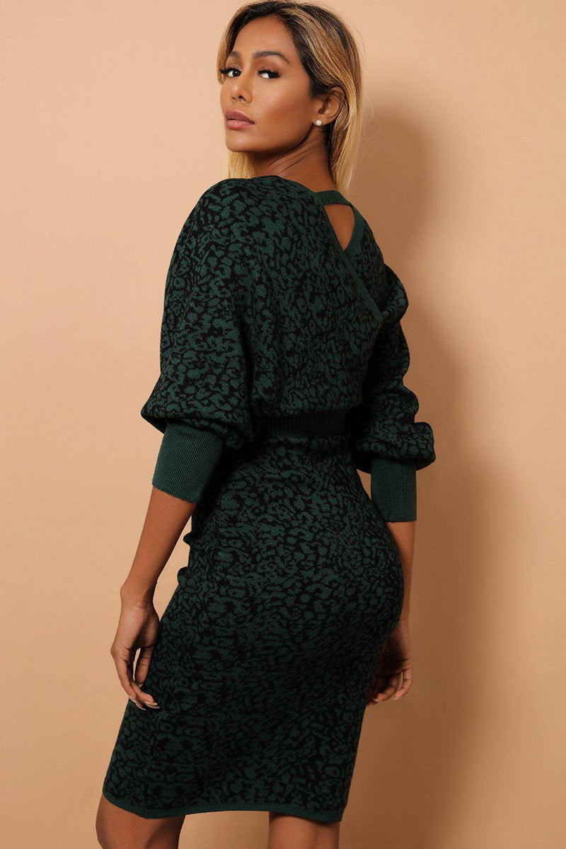 Green Cheetah Print Large V-Neck Knitted Midi Dress - SinglePrice