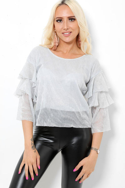 Ruffle Sleeves Lurex Silver Top-SinglePrice