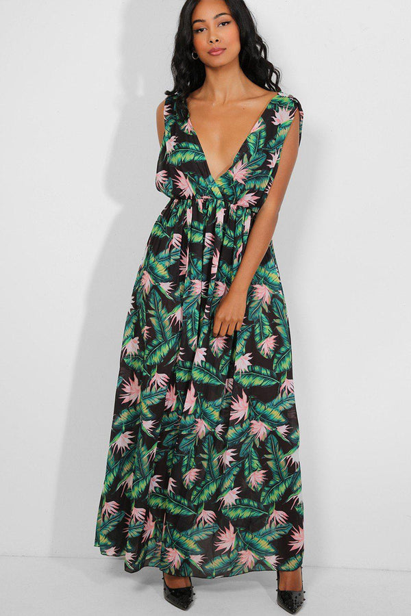 Green Tropical Print Deep Plunge Maxi Dress-SinglePrice