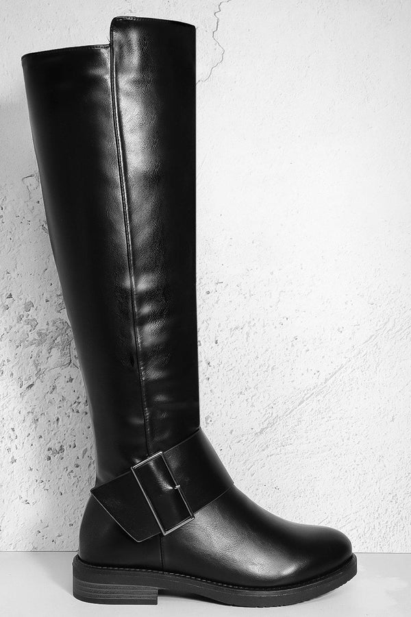 Black Vegan Leather Knee High Low heel Boots - SinglePrice