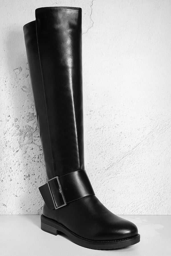 Black Vegan Leather Knee High Low heel Boots
