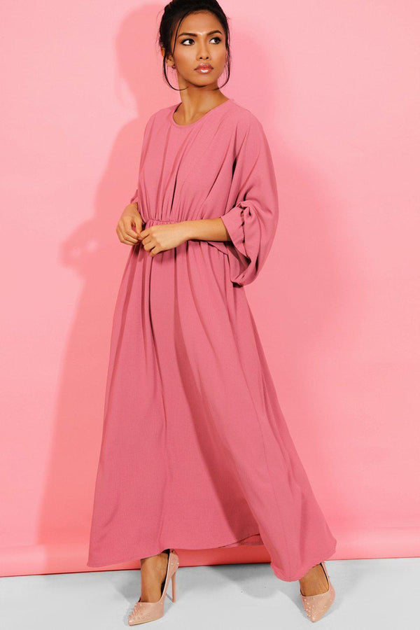 Rose Pink Extreme Balloon Sleeves Maxi Dress - SinglePrice