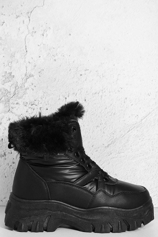 Black Faux Fur Hi Top Hiking Boots