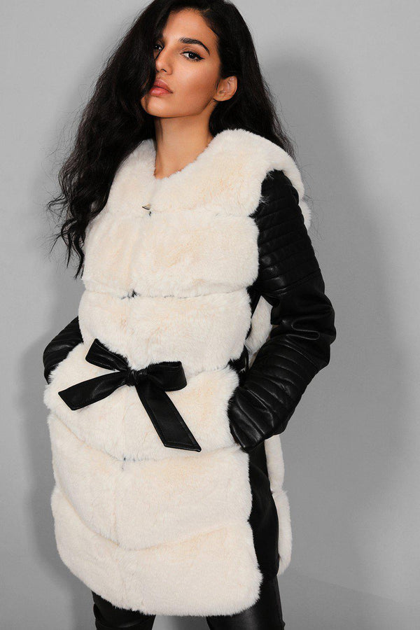 Beige Faux Fur And Black Vegan Leather Belted Jacket - SinglePrice