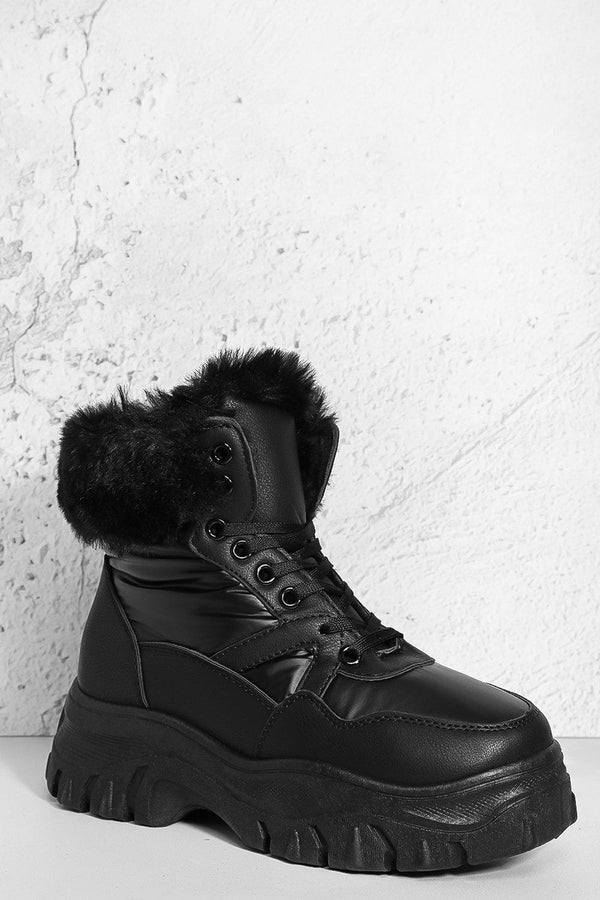 Black Faux Fur Hi Top Hiking Boots-SinglePrice