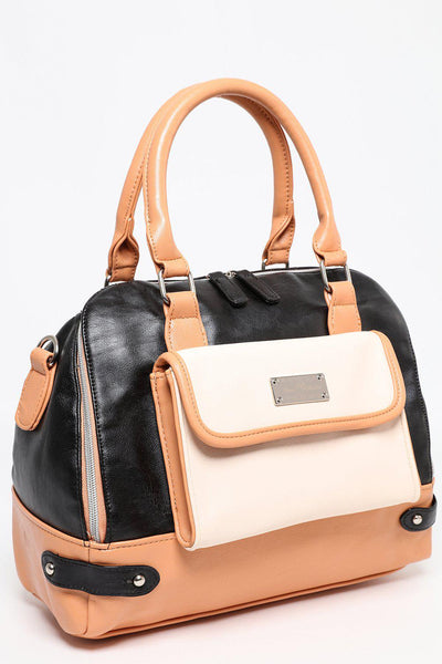 Black and Beige Bowler Bag-SinglePrice