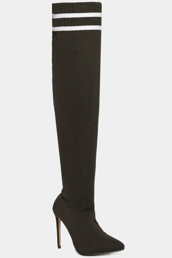 Twin Stripe Knitted Over The Knee Khaki Stiletto Boots - SinglePrice