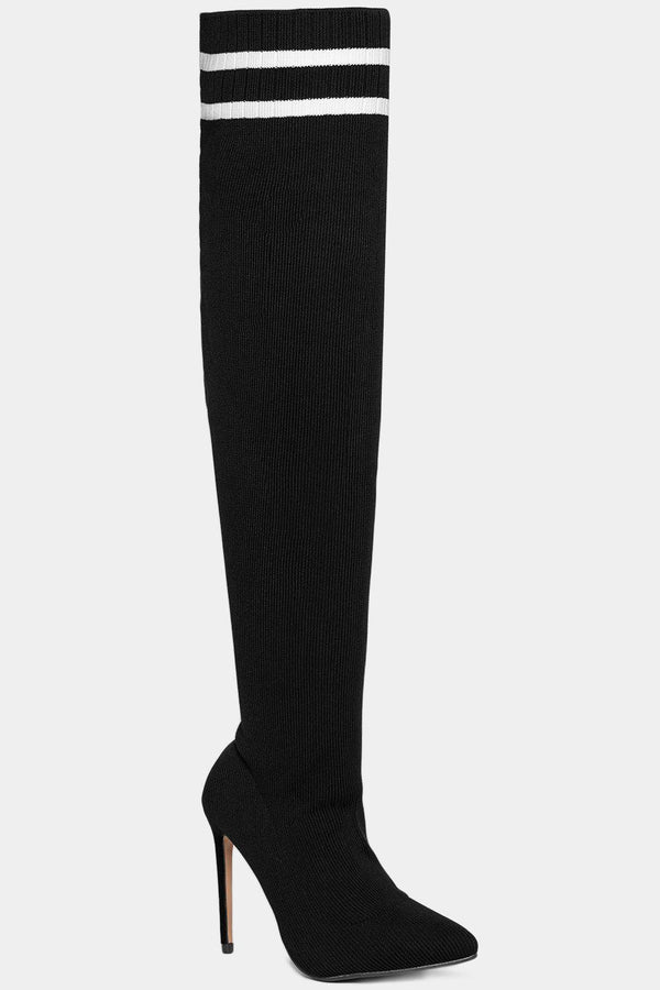 Twin Stripe Knitted Over The Knee Black Stiletto Boots-SinglePrice