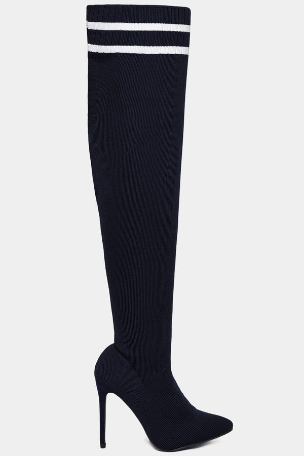 Twin Stripe Knitted Over The Knee Navy Stiletto Boots-SinglePrice