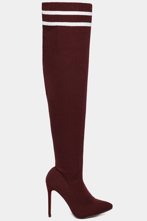Twin Stripe Knitted Over The Knee Burgundy Stiletto Boots - SinglePrice