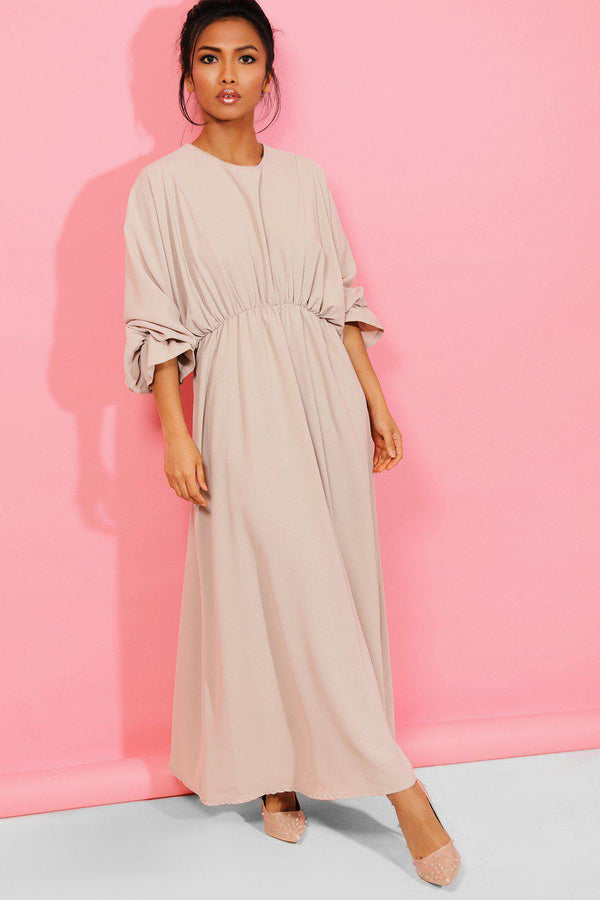 Beige Extreme Balloon Sleeves Maxi Dress - SinglePrice