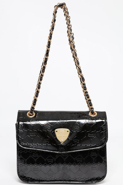 Black Embossed Minibag with Chain-SinglePrice