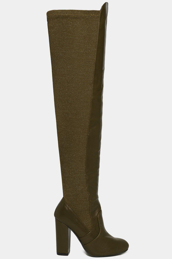 Green Stretchy Shimmer Panel Over The Knee Boots-SinglePrice