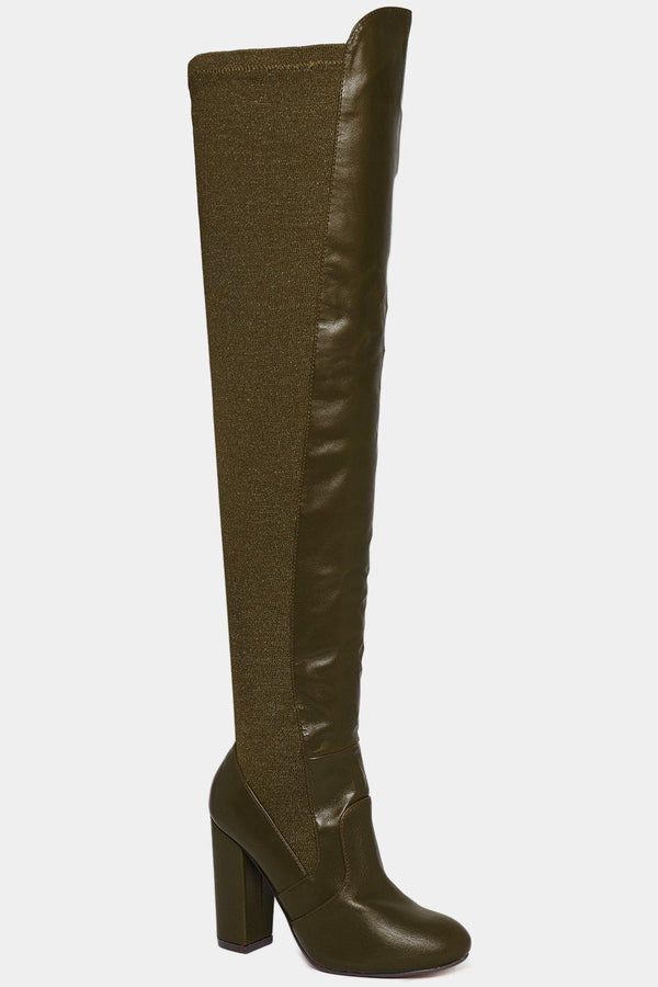 Green Stretchy Shimmer Panel Over The Knee Boots - SinglePrice