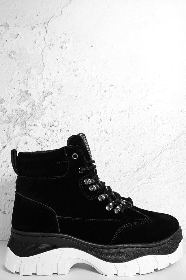 Black Vegan Suede Hi Top Wedge Trainers-SinglePrice