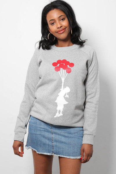 Red Balloons Light Grey Printed Sweatshirt