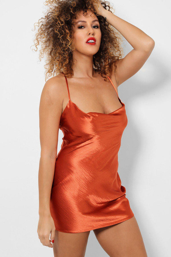 Rust Satin Touch Low Cowl Neck Cami Mini Dress-SinglePrice