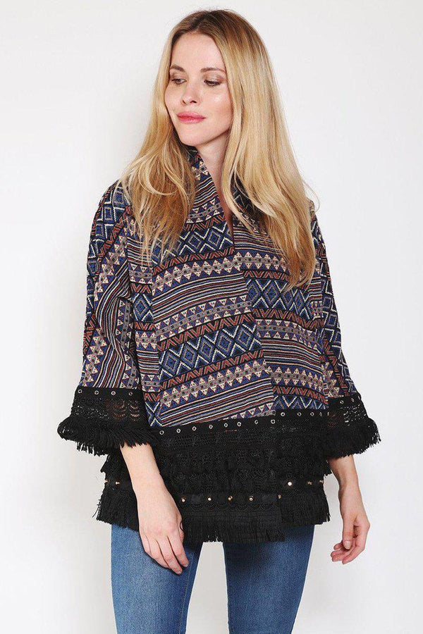 Black Open Front Embroidered Jacket-SinglePrice