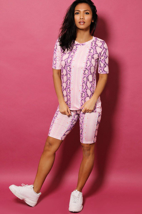 Purple Python Print Top And Cycling Shorts 2 Piece Set - SinglePrice