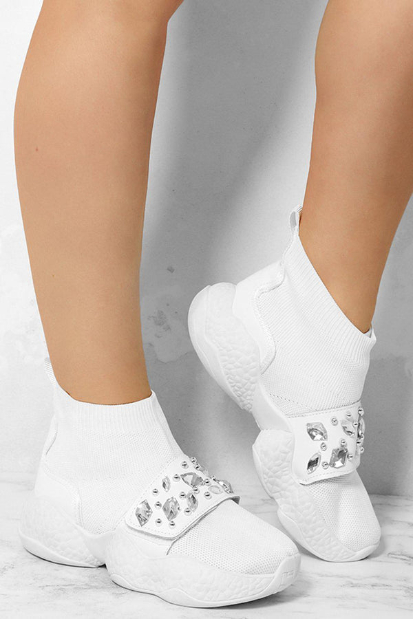 White Large Jewels Embellished Velcro Sock Trainers-SinglePrice