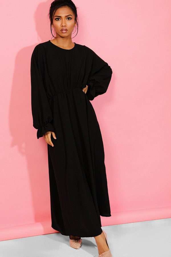 Black Extreme Balloon Sleeves Maxi Dress - SinglePrice