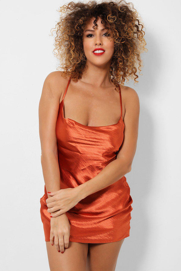 Rust Satin Touch Low Cowl Neck Cami Mini Dress - SinglePrice