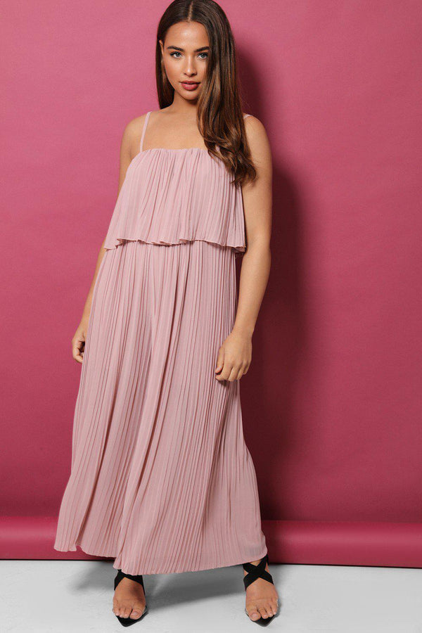 Pink Layered Top Pleated Palazzo Cami Jumpsuit - SinglePrice