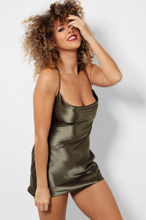 Green Satin Touch Low Cowl Neck Cami Mini Dress-SinglePrice