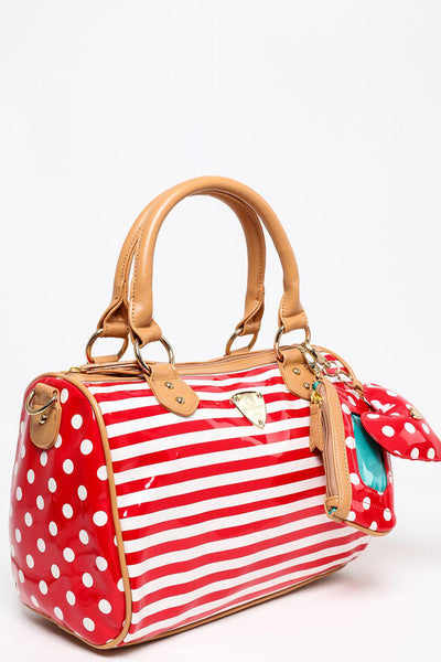 Red Stripes and Spots Bowler Bag-SinglePrice