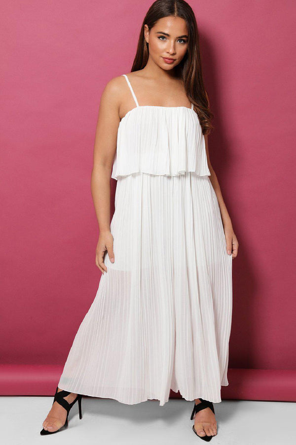 White Layered Top Pleated Palazzo Cami Jumpsuit - SinglePrice