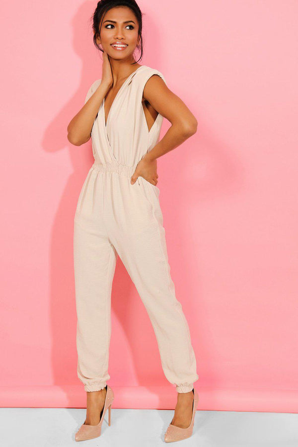 Beige Power Shoulders V-Neck and Back Jumpsuit - SinglePrice