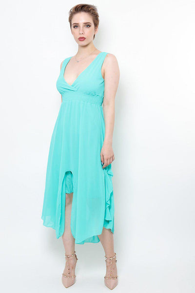 Front Split Ruffle Sides Turquoise Maxi Dress-SinglePrice