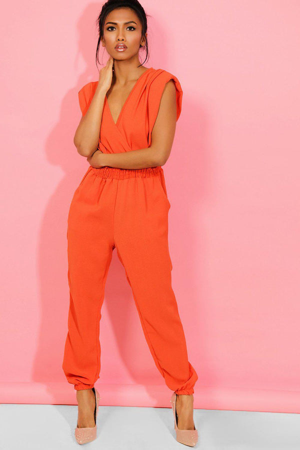 Orange Power Shoulders V-Neck and Back Jumpsuit - SinglePrice