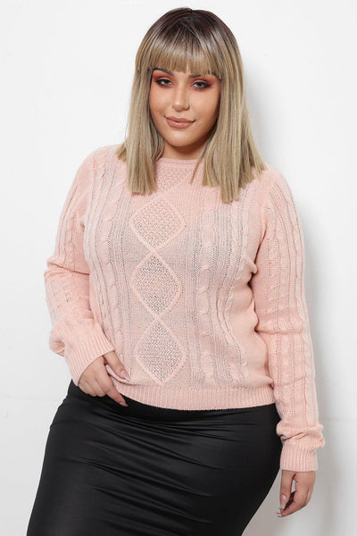 Cable Knit Pink Fishermans Jumper-SinglePrice