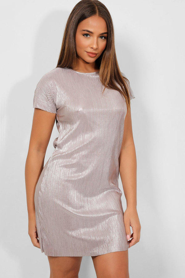 Silver Pleated Tie-Up Back Lurex Mini Dress - SinglePrice