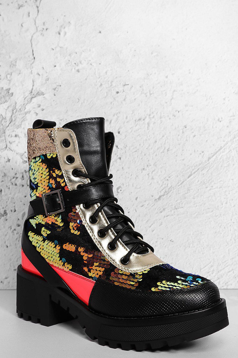 Gold Sequinned Crossover Strap Hiking Boots - SinglePrice