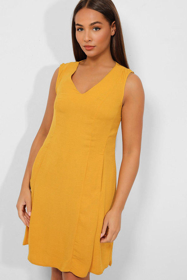 Mustard V-Neck Side Pockets Sleeveless Shift Dress - SinglePrice