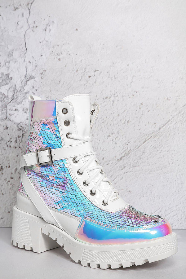 White Sequinned Crossover Strap Hiking Boots - SinglePrice