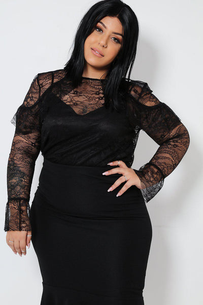 Sheer Black Lace Frill Shoulder Blouse-SinglePrice