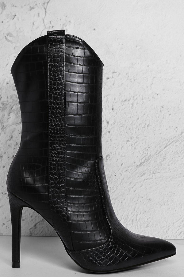 Black Mock Croc Hi Top Stiletto Ankle Boots - SinglePrice