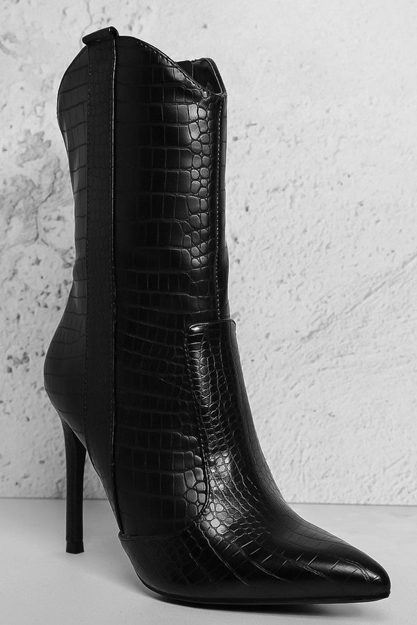 Black Mock Croc Hi Top Stiletto Ankle Boots-SinglePrice