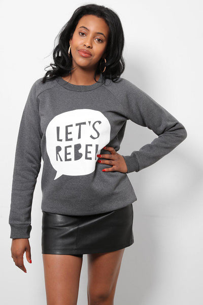 Let's Rebel Dark Grey Printed Sweatshirt