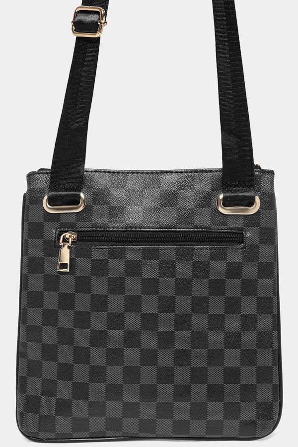 Black Checked Multi-Pocket Front Messenger bag-SinglePrice