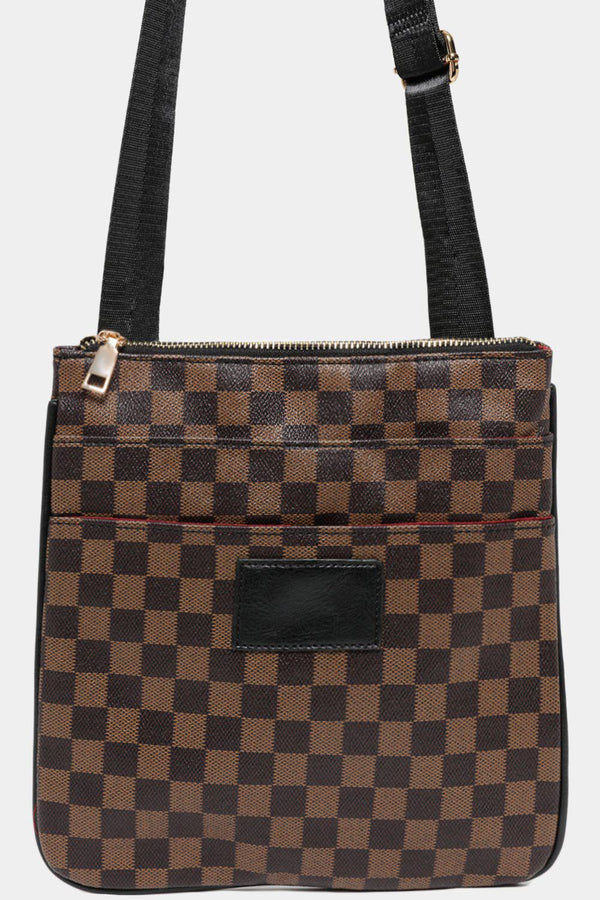 Brown Checked Multi-Pocket Front Messenger bag - SinglePrice